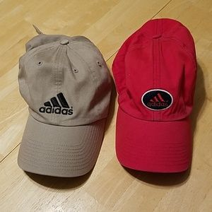 Adidas baseball hats one tan and one red